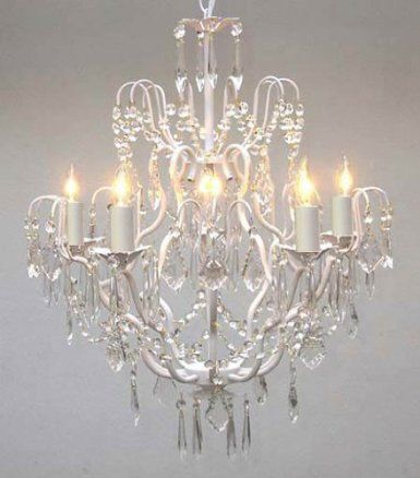 White wrought iron crystal chandelier chandeliers lighting h27 x