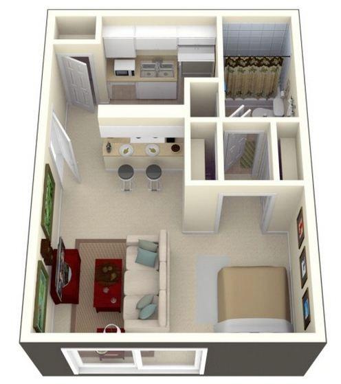 Plano de monoambiente de 30 m2