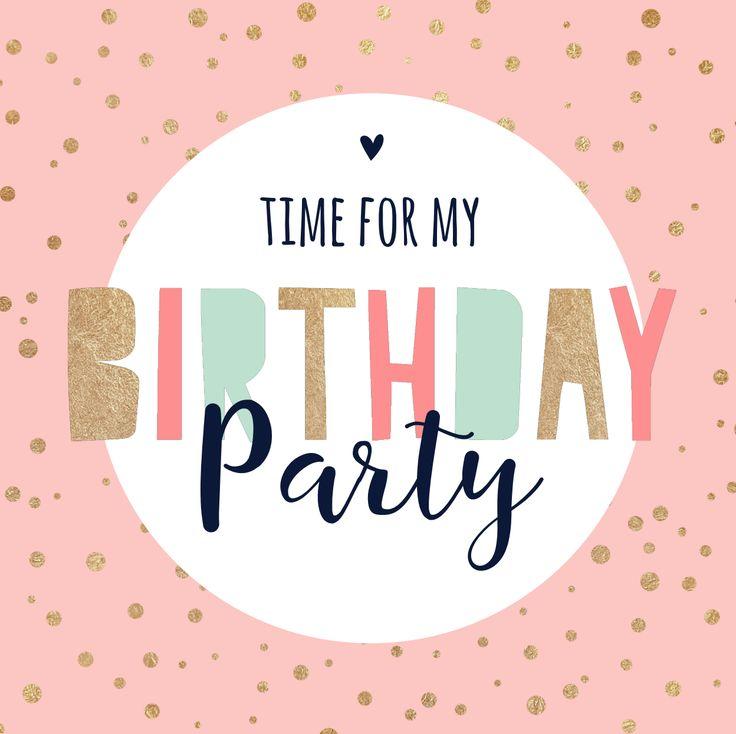 Vrolijke uitnodiging voor een verjaardag met mint, goud en roze confetti en letters.