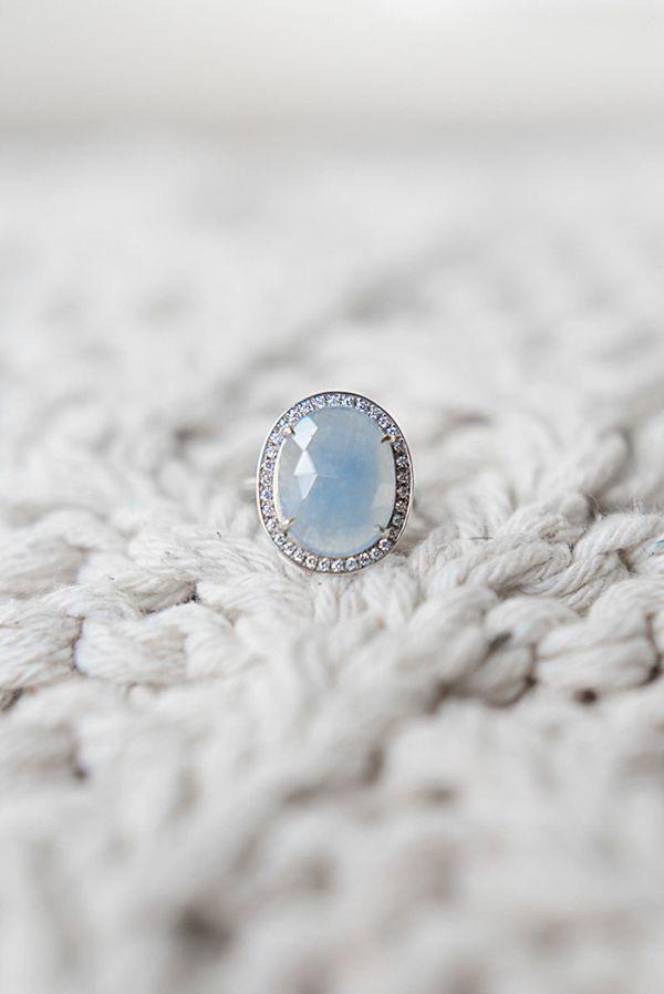 oval halo gemstone engagement ring @myweddingdotcom