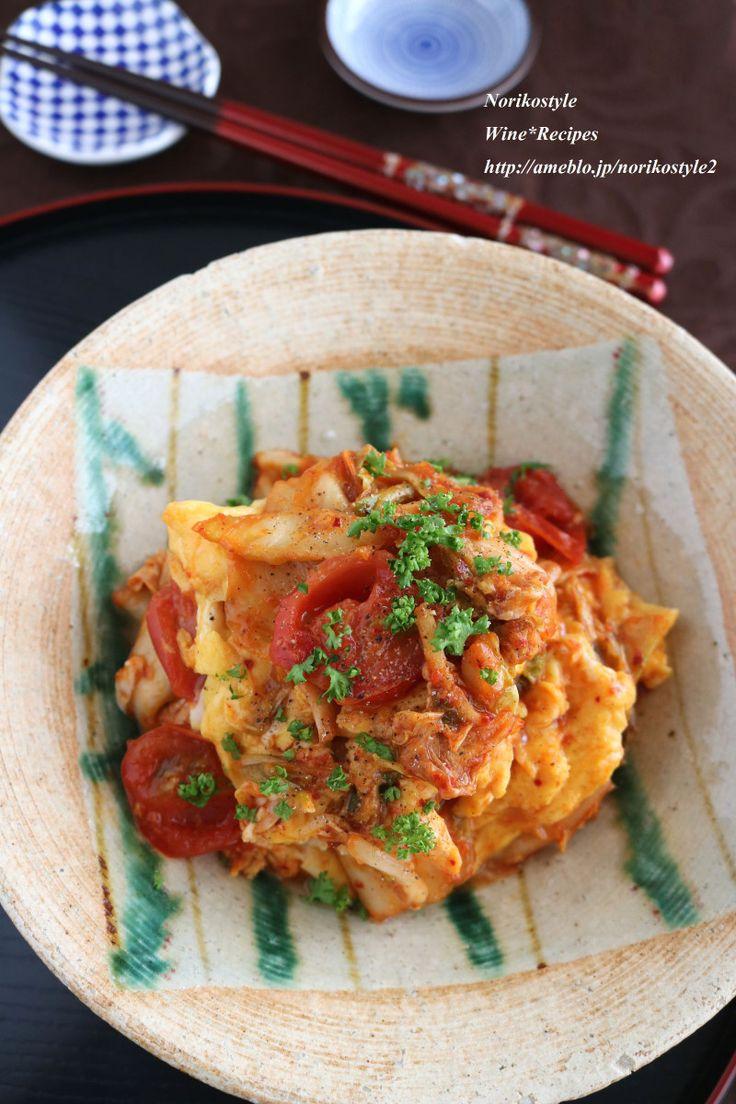 ご飯が進む♪卵とトマトのキムチオイスター炒め|Norikostyle ワインとおつまみレシピ