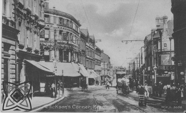 1910 - Jackson's Corner, King's Road, Reading. A busy street of horses, carts, shoppers and trams. Jackson's department store was founded by Edward Jackson in 1875 in a tiny shop at 6 High Street. With increasing trade he had to expand his premises and in 1885 the now famous Jackson's Corner were acquired and enlarged and new branches periodically opened.