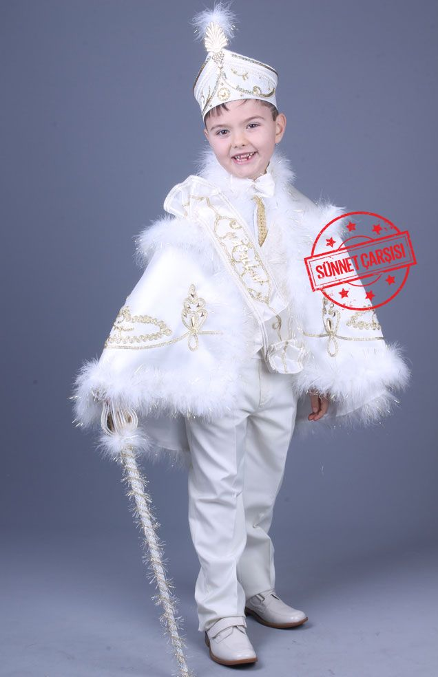 Yağız Krem Altin Pelerinli Sünnet Elbisesi Bu ürün pelerin,kuşak,papyon,maşallah bandı,pantolon,yelek,gömlek,asa ve şapka ve olmak üzere toplam 9 parçadan oluşmaktadır.Diğer sünnet kıyafet çeşitlerini görmek için sitemizi ziyaret edebilirsiniz.http://sunnetcarsisi.com/