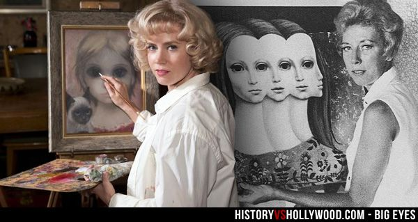 Amy Adams in the Big Eyes movie and the real Margaret Keane at work. See more Keane photos: http://www.historyvshollywood.com/reelfaces/big-eyes/