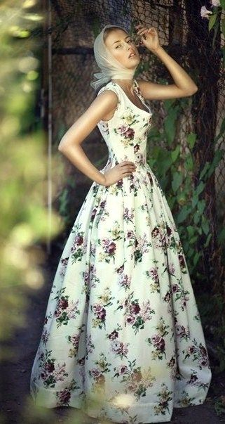 Russian-style summer long dress.