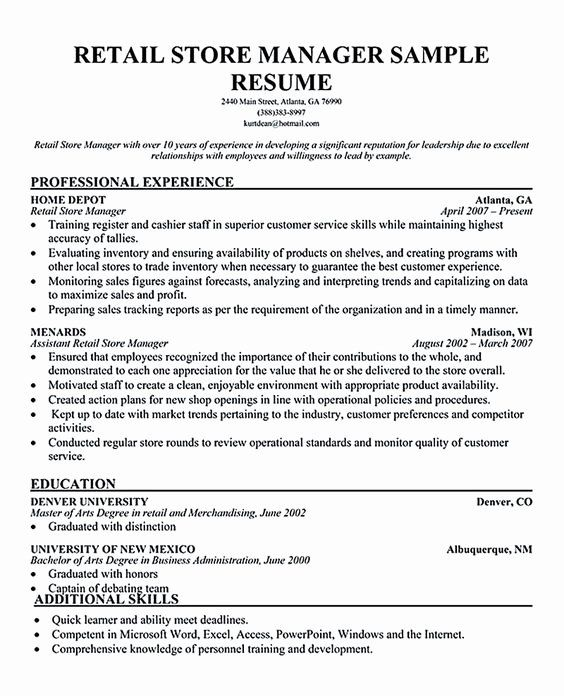 Retail Management Resume Examples Elegant Pinterest The World S Catalog Of Ideas In 2020 Retail Resume Examples Resume Examples Manager Resume