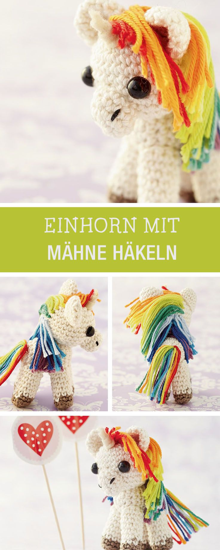Kostenlose Anleitung für ein gehäkeltes Einhorn mit Regenbogenmähne / diy crochet tutorial for a rainbow unicorn, amigurumi via DaWanda.com