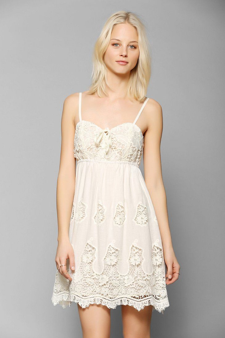 Pins and needles crochet lace up bodice dress new for Urban outfitters wedding dresses