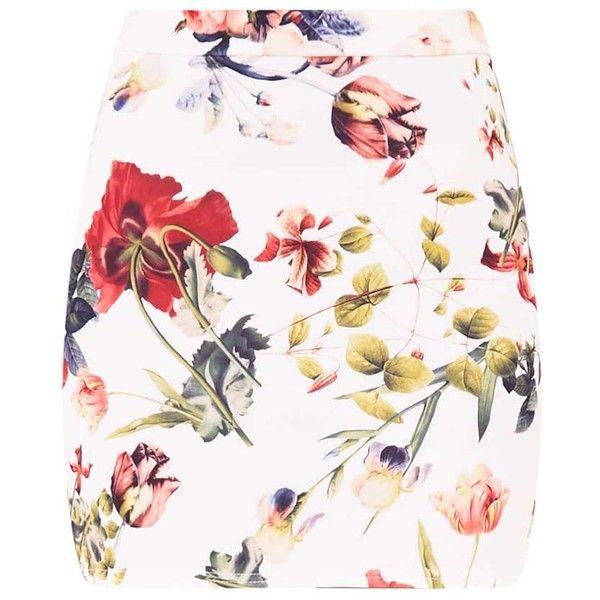 Blanka Cream Floral Mini Skirt ($12) ❤ liked on Polyvore featuring skirts, mini skirts, floral printed skirt, flower print skirt, cream mini skirt, short mini skirts and floral miniskirts