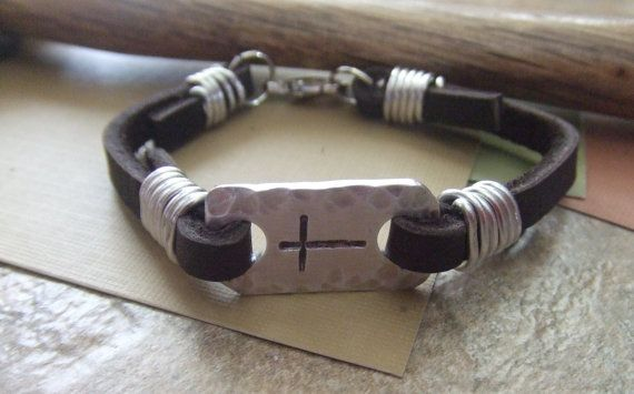 Men's Leather Cross Bracelet - Hand Stamped Christian Jewelry - Confirmation First Communion Baptism on Etsy, $50.00
