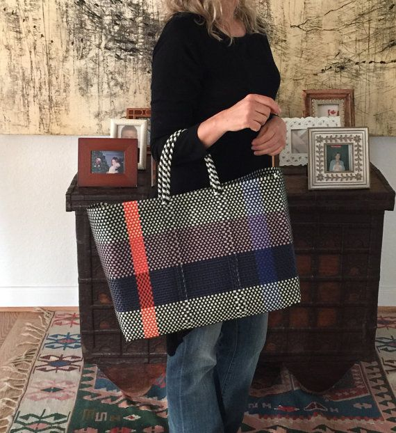 Handwoven Plastic Bag Beach Summer Tote Woven Large Mexican Style