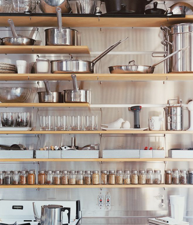 Kitchen shelves in a 426 square foot downtown loft