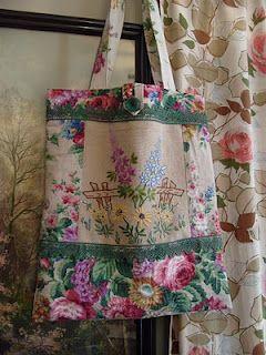 Vintage linen tote