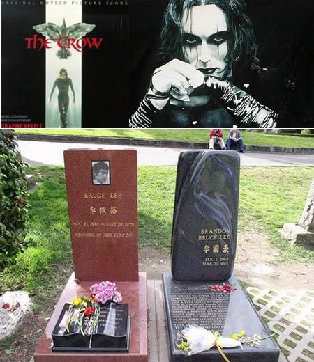 one of the scenes of The Crow was being filmed, Brandon Lee --Bruce Lee's son-- was shot and killed by a prop .44 Magnum. The scene involved the firing of a full-powder blank (full charge of gunpowder, but no bullet) at Brandon's character; however, unknown to the film crew/firearms technician, a bullet was already lodged in the barrel and hit Lee in the abdomen.