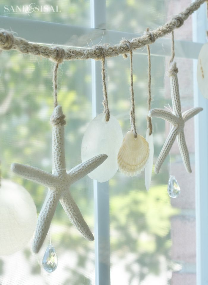 Sea Chimes - Starfish and Capiz Shell Garland                                                                                                                                                                                 More