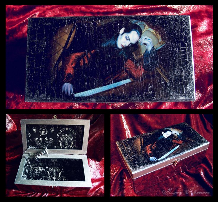 Krolock's Coffin. Handmade box with the photo of Ivan Ozhogin as Graf von Krolock from the Russian production of the musical Tanz der Vampire. Decoupage.