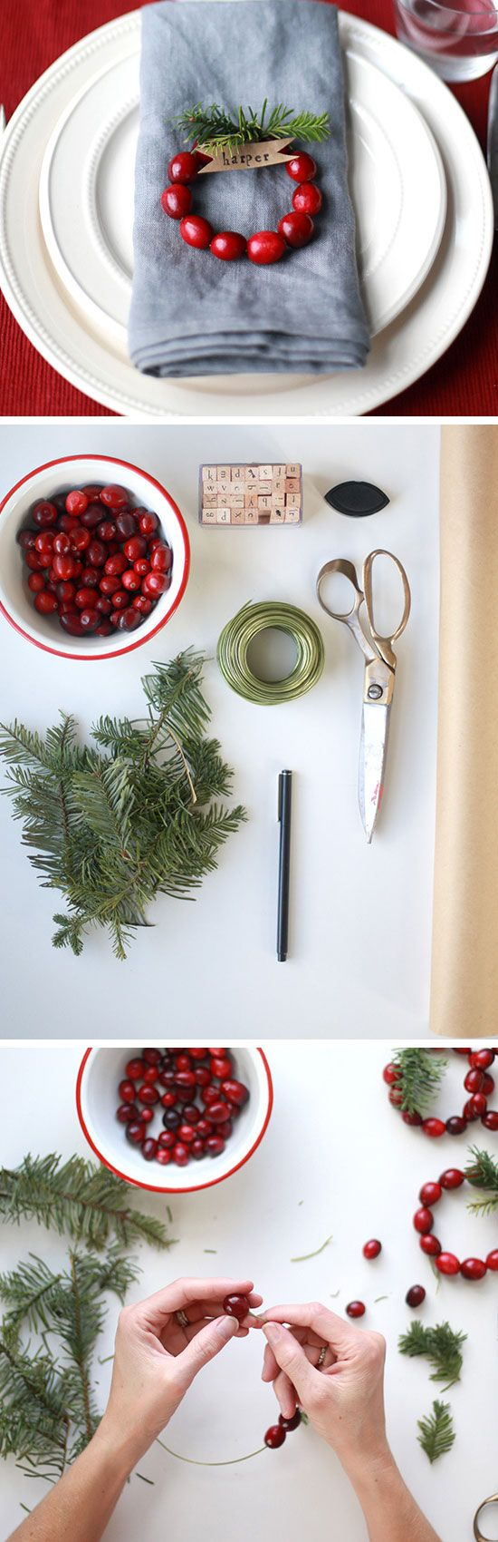 DIY Mini Cranberry Wreath Place Cards | Click for 30 DIY Christmas Table Centerpiece Ideas | DIY Christmas Table Decoration Ideas