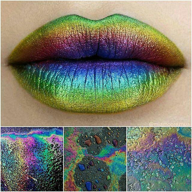 @miamoore.mua oil slick lips @meltcosmetics bane lipstick as a base @sugarpill loose shadows in royal sugar, decora and absinthe @bennyemakeup lumiere grande palette.