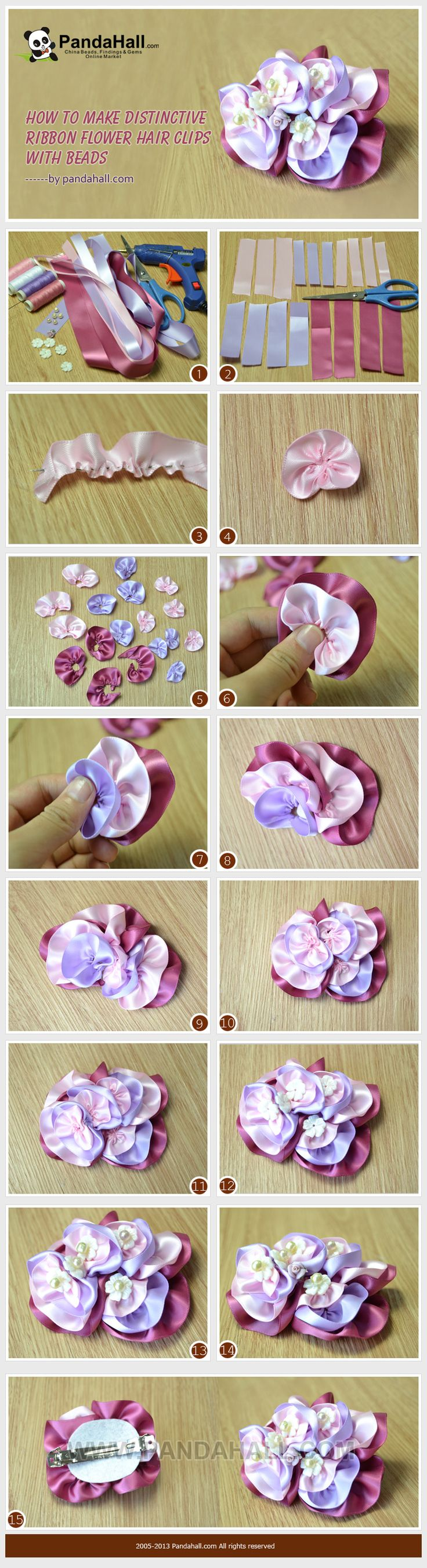 How to Make Distinctive Ribbon Flower Hair Clips with Beads