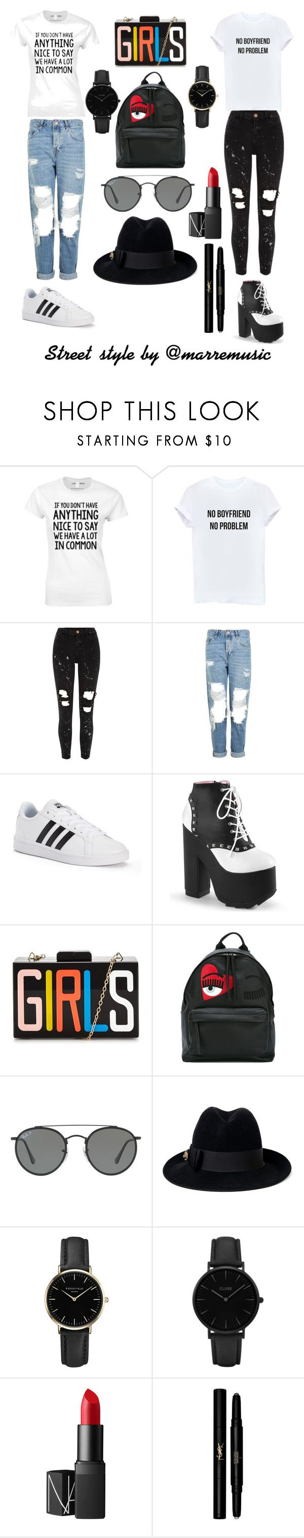 """Sin título #42"" by marremusic on Polyvore featuring moda, River Island, Topshop, adidas, Chiara Ferragni, Ray-Ban, Gucci, ROSEFIELD, CLUSE y NARS Cosmetics"