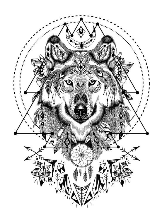 boho wolf with sacred geometry adult coloring book page printable instant