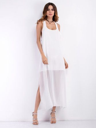 Sexy Women Sleeveless Backless Lace Patchwork Split Chiffon Dresses at Banggood