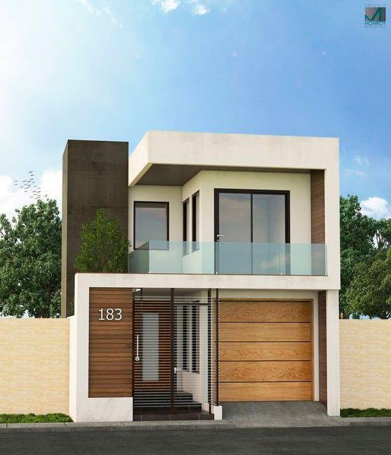 dos modelos de fachadas de casas modernas que utilizan elementos de diseo como grandes