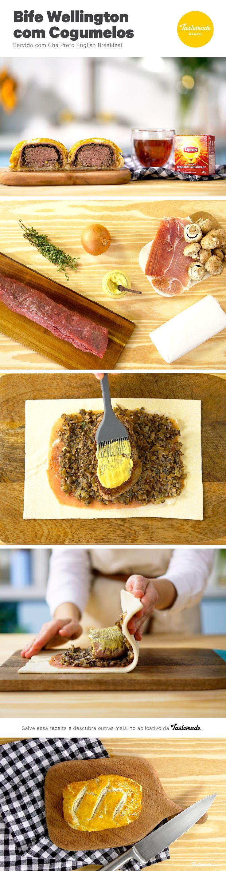 Nós garantimos que o sabor de um bife Wellington recheado com cogumelos fica ainda melhor quando harmonizado com chá preto English Breakfest!  Receita completa: https://www.tastemade.com.br/videos/bife-wellington-recheado-com-cogumelos