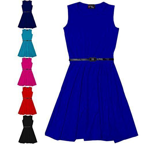 Girls Skater Dress Kids Party Dresses With Free Belt Age 7 8 9 10 11 12 13 Years, http://www.amazon.com/dp/B00Y3S9U06/ref=cm_sw_r_pi_awdm_K.J8wb8BM61M0