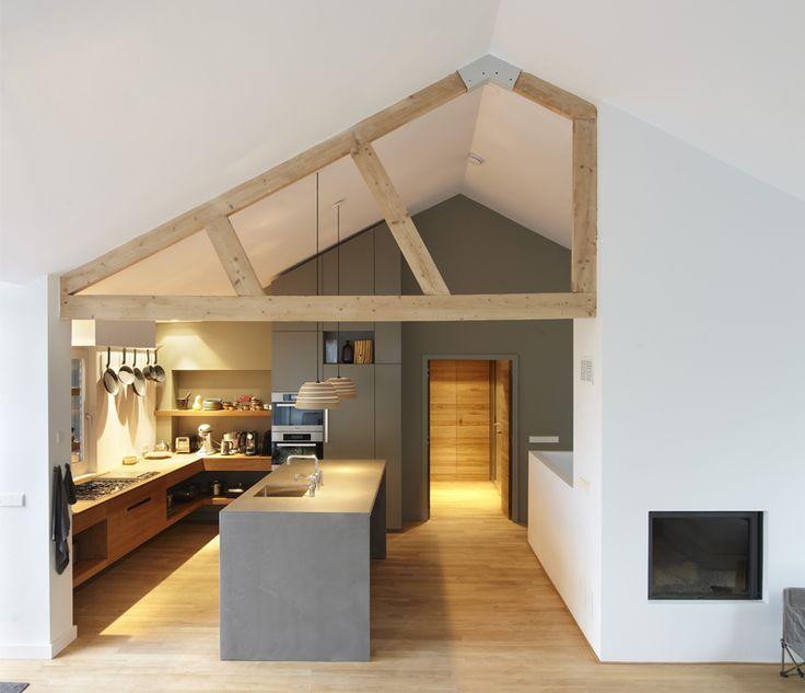 grey kitchen, 3/4 natural wood beams