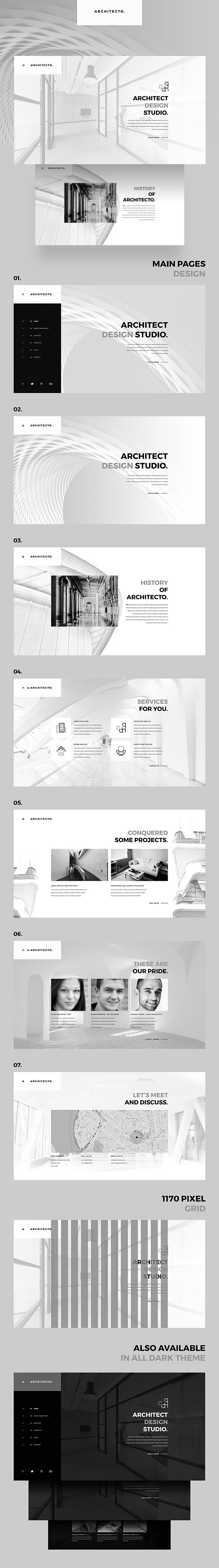 Architecto Architecture Studio PSD Template #interior #interiors #modern • Available here ➝ https://themeforest.net/item/architecto-architecture-studio-psd-template/20722084?ref=pxcr  - No site #ThemeForest encontra os melhores #Templates & #Plugins para #Wordpress. Confira em http://www.estrategiadigital.pt/themeforest-templates-wordpress/