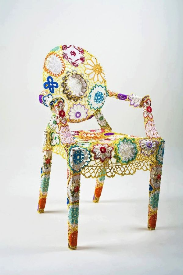 a crochet covered chair