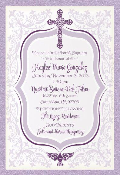 Vintage Lavender Baptism Invitation Baptism 1st Bday Decor