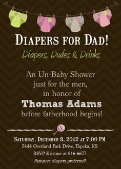 printable mens diaper party invitations | Diapers for Daddy Baby Shower Invitation - Printable. $17.00, via Etsy ...