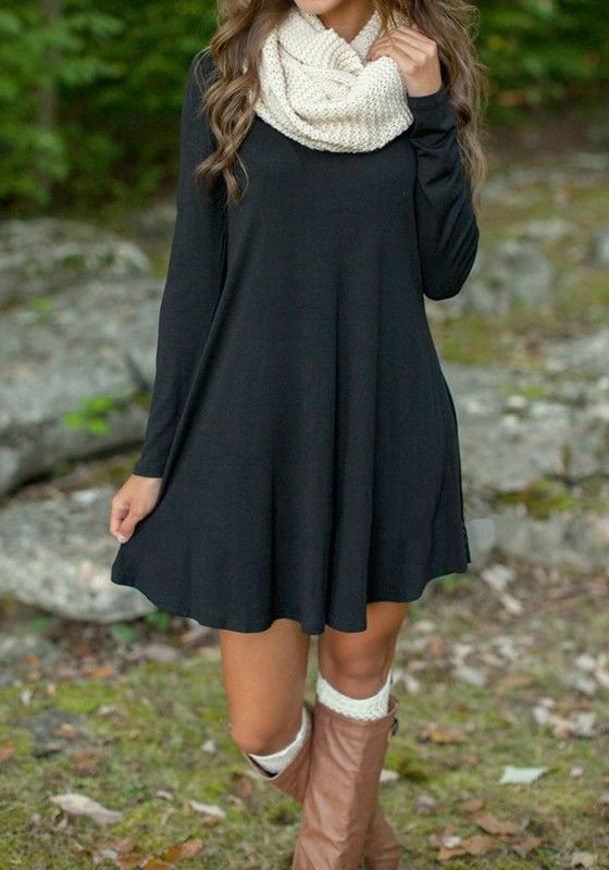 Black Plain V,neck Casual Mini Dress. Fall Outfit IdeasAutumn