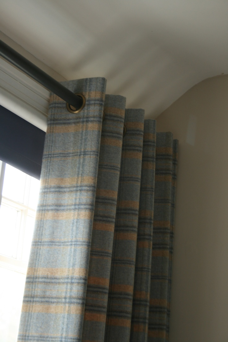 Blue Wool check eyelet curtains   stylish for a boys bedroom or study