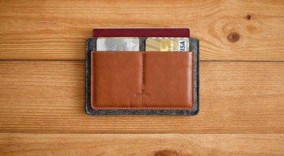 Passport Wallet, Leather Passport Wallet, Travel wallet, Passport case, Leather passport holder, document wallet // HABIT (Brown/Light felt)