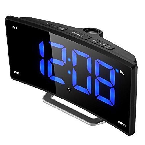 """Projection Clock (New Version) Pictek FM Projection Alarm Clock 2"""" LED Display Curved-Screen Digital FM Clock Radio with Dual Alarms 12/24 Hour USB Charging Battery Backup"""
