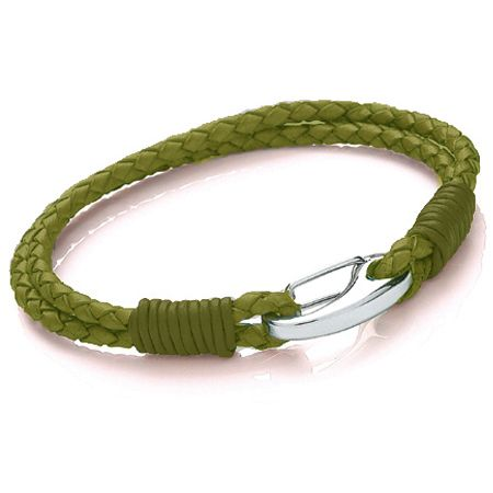 Tribal Steel 2 strand OLIVE colour Leather Bracelet.Beautifully crafted bracelet, made with top quality Bolo leather & 316L stainless steel  3mm Two  Strand Olive Green coloured Bolo Leather,  and a  shrimp Clasp fastening  Size: 21cm