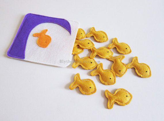 """Felt Pretend Play Food - play food - felt food play - pretend food - """" goldfish bag ,  goldfish cookie, felt cookies""""design"""