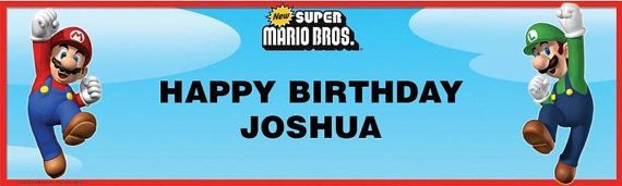 Mario Bros Personalized Happy Birthday Banner 5ft, Mario, Luigi Party Banner These are great for a Child's Party!