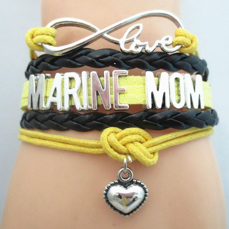 Infinity Love Marine Mom Bracelet - FREE SHIPPING - Hand Made Leather Strap Wrap