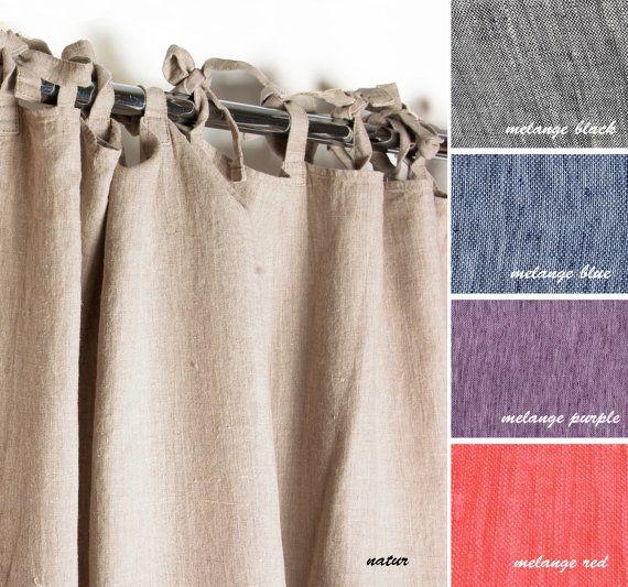 longitud de cortina de lino lazos por nordicstyle
