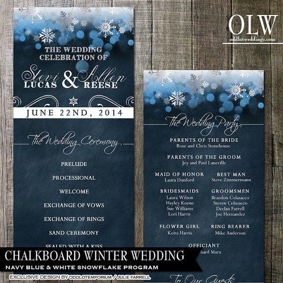 Chalkboard Wedding Program Winter Wedding Program by OddLotPaperie
