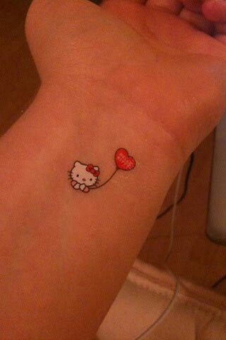 Hello kitty tattoo. Wrist tattoo. Maybe on my lower ankle instead.