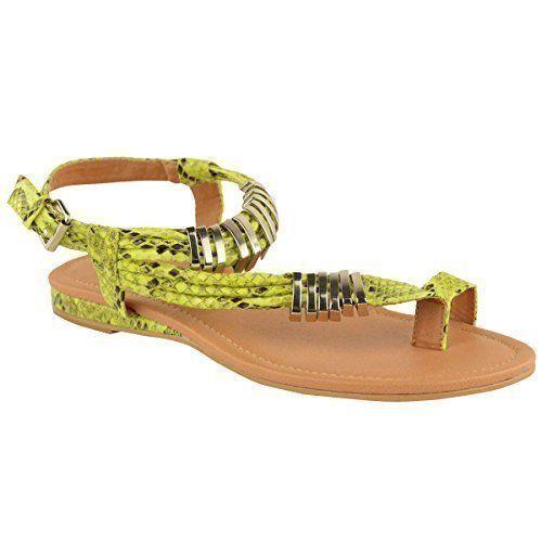 Sandalias de mujer sandalias de correa de tobillo plana de verano, color amarillo, talla 37 - http://on-line-kaufen.de/fashion-thirsty/4-uk-damen-sandalen-flach-sommer-knoechelriemen