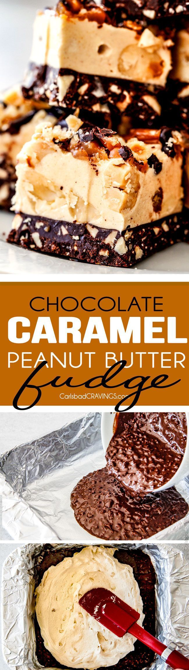 Easy Chocolate Caramel Peanut Butter Fudge with NO boiling and no candy thermometer!