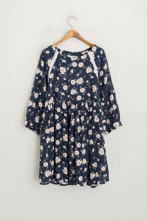 Jasmine Linen Babydoll Dress, Navy