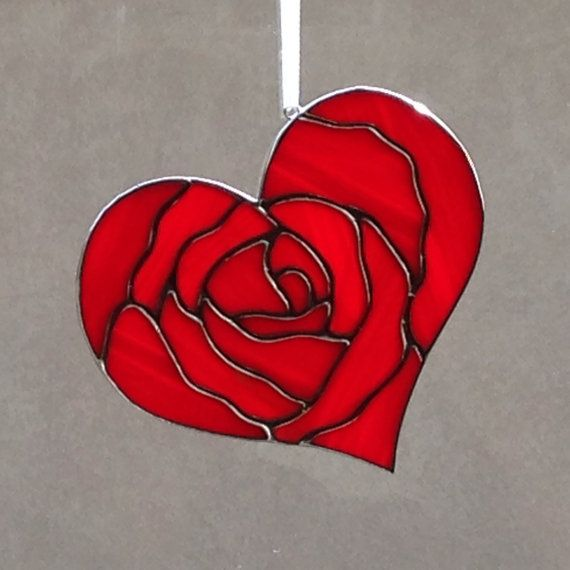 Stained Glass Red Rose Heart Valentine Suncatcher / Ornament