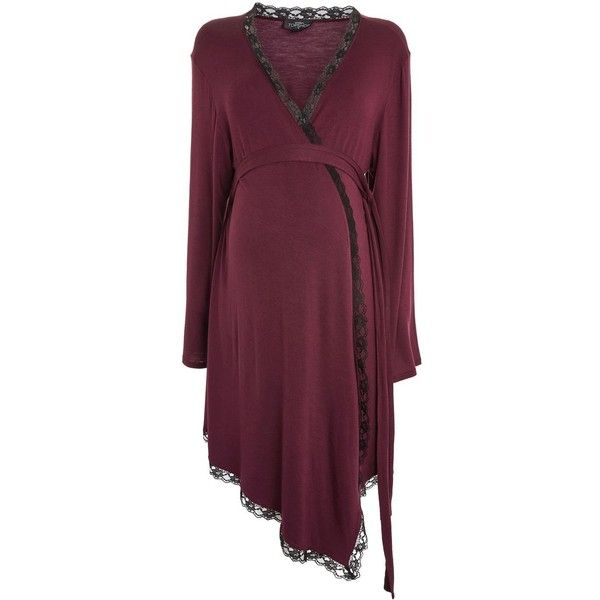TopShop Maternity Lace Night Robe ($55) ❤ liked on Polyvore featuring oxblood